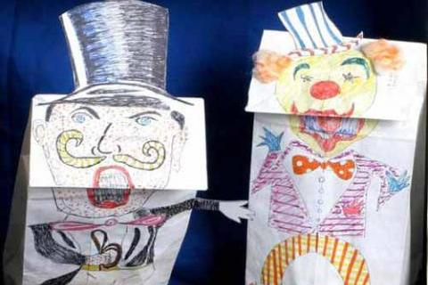 """The Ringmaster and the Clown start in """"Florachica Joins the Circus"""" paper bag puppet theater, performed by Zippedy the Clown"""